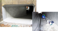 小倉排水機場樋門保護工法(床・壁・天井ひび割れ漏水止水)